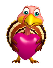 Turkey cartoon character with heart