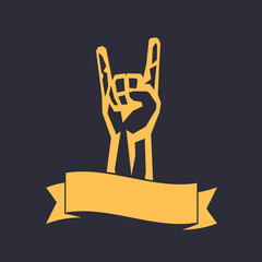 rock sign, hand-horn, rock-concert gesture isolated on dark, vector illustration