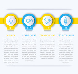 Startup infographic design elements, steps, timeline in blue and yellow, vector illustration