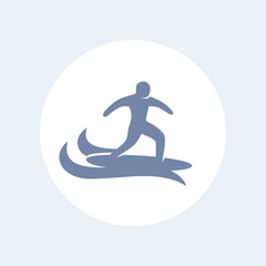 Surfer icon, surfing vector pictogram, man on surfing board icon isolated on white, vector illustration