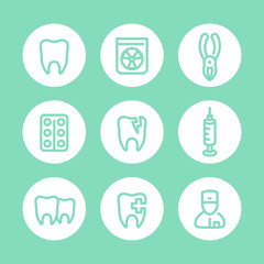Tooth icons, dentist, dental care, toothcare, stomatology, line pictograms set, vector illustration