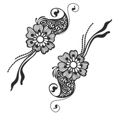 Vector ornament flowers, ethnic zentagled henna tattoo can be used for poster, label, banner or  for greeting card