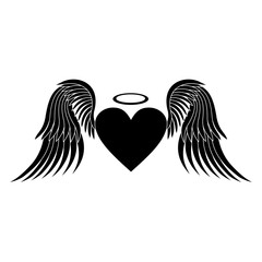 Heart with wings. Heart silhouette. Heart vector. Icon heart. Black silhouette on white background. Vector illustration