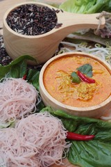 Thai curry with riceberry rice noodle .