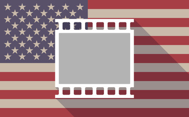 Long shadow USA flag icon with    a photographic 35mm film strip