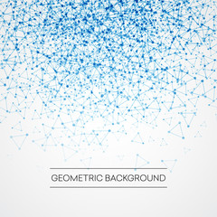 Abstract background with dotted grid and triangular cells. Vector illustration