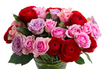 bouquet of fresh roses and ranunculus