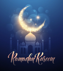 Ramadan Kareem greeting lettering card with moon and stars. Vector illustration