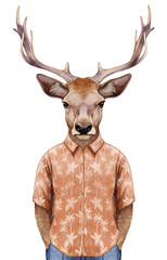 Portrait of Deer in summer shirt. Hand-drawn illustration, digitally colored.