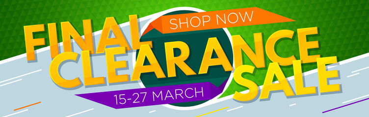 Final clearance sale banner. Sale and discounts. Vector illustration
