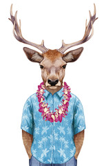 Portrait of Deer in summer shirt with Hawaiian Lei. Hand-drawn illustration, digitally colored.