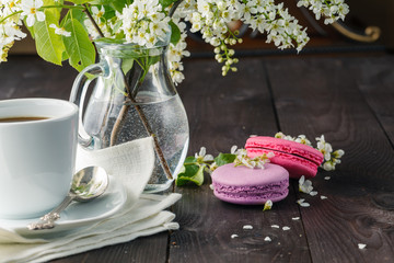 Macaroons and spring blossom