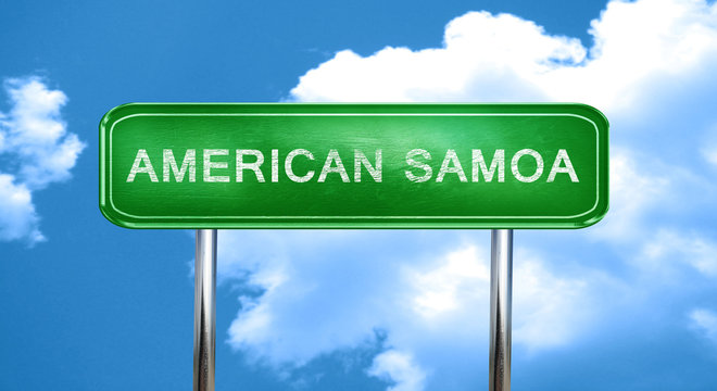 American samoa vintage green road sign with highlights