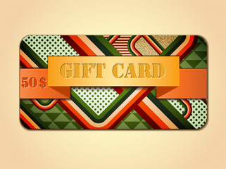 Retro stile abstract gift card.