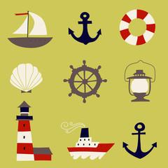 Cute Nautical Set. Flat Vector illustration - nautical design elements. Childish illustration. Isolated.