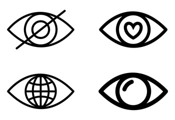 Eye design. Cartoon icon. White background, vector silhouette style