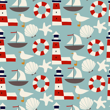 Kids vector seamless pattern with nautical symbols.  Marine pattern. Can be used for wallpapers, pattern fills, web page backgrounds, surface textures, textile, wrapping.