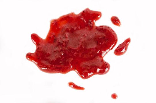 jam spilled on a white background