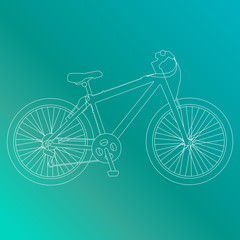 Line vector bycicle illustration.