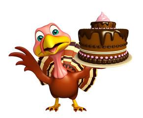 Turkey  cartoon character  with cake