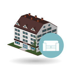 Hotel design. travel icon. Isolated and flat illustration