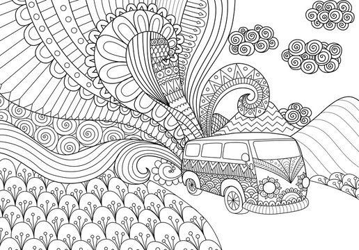 Doodles design of minivan traveling for coloring book for adult, anti stress - Stock vector