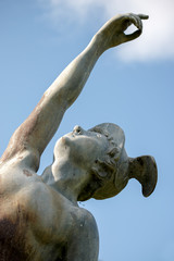 Close-up of the statue of Hermes in Port Lympne Mansion Gardens