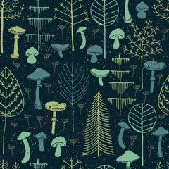 Forest trees and Mushrooms seamless pattern. Hand drawn illustration of Trees and Mushrooms made in Vector. Can be used for wallpapers, pattern fills, web page backgrounds, surface textures, textile.