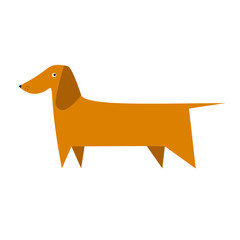 Dachshund vector illustration. Vector flat illustration of dog isolated on background. Can be used for logo template.