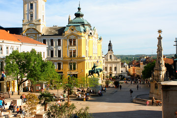 City Hall Square of Pecs in Hungary. Pecs - city in Baranya coun