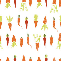Seamless pattern with hand drawn carrots. Cartoon style.