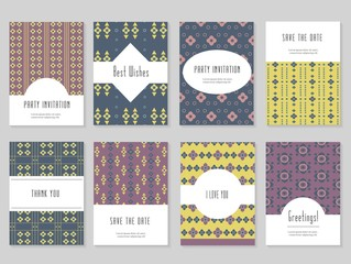 Vector set of card Templates in Ethnic and Boho Style for Design, Website, Background, Banner. Tribal Elements Template for Flyer, Invitation, Greeting cards.