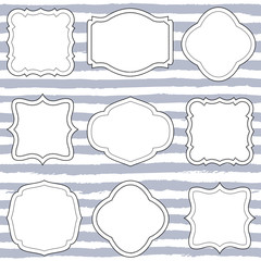 Set of nine vintage vector frames, shapes, wedding boards, label, tags. Hand painted striped background