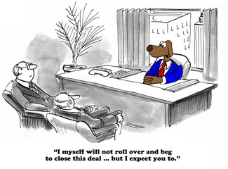 Business cartoon about closing a business deal.