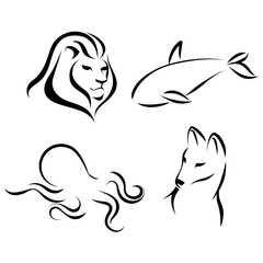 Animals, black lines, ink effect. Lion head, octopus, wolf, grampus logo icon design in mono line style. Dark on light background. Vector.