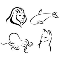 Animals, black lines, ink effect. Lion head, octopus, wolf, grampus logo icon design in mono line style. Dark on light background. Vector.