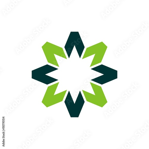 quotgreen sun or star decorative logoquot stock image and