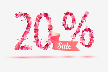 twenty (20) percents sale. Digits of pink rose petals