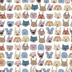 Seamless pattern with cute animals. Bright childish background.Vector illustration. Hand drawn illustration.