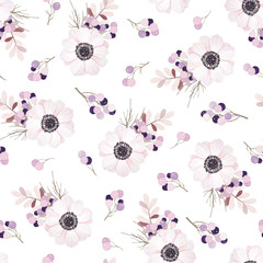 Vector seamless pattern with flower bouquet. Anemone, branches and berries.