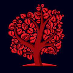 Art illustration of autumn branchy tree, stylized ecology symbol