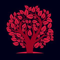 Artistic autumn illustration of tree, stylized eco symbol. Graphic