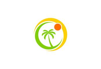 palm tree beach vector logo
