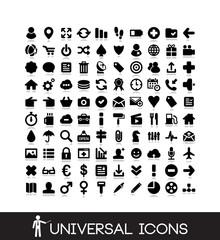 100 basic icons set - web, business, internet, media icon