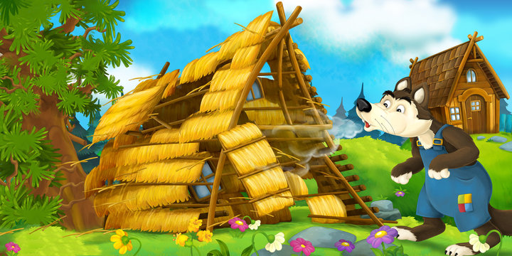 Cartoon scene of house being demolished - wolf puffing - illustration for children