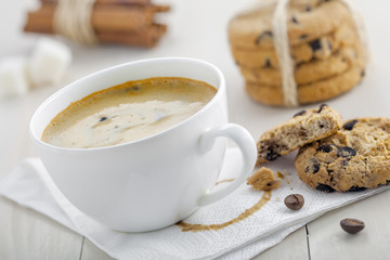 Coffee break with homemade cookies. Chocolate baked biscuits with cup of coffee.