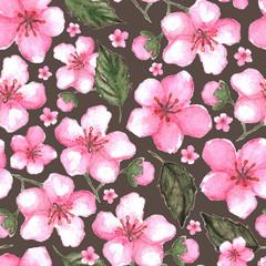 Watercolor pink cherry sakura seamless pattern texture background