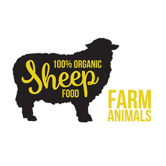 Black contour farm sheep animal with a yellow lettering inscription inside, Logo sheep animal, outline for the product, illustration contour farming sheep with lettering on the mutton meat