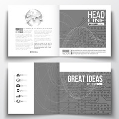 Vector set of square design brochure template. Microchip background, electrical circuits, construction with connected lines, scientific pattern on gray, science vector.
