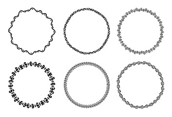 Collection of round decorative frames and labels with lines, symmetric geometric shapes